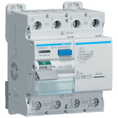 Interrupteur différentiel 3P+N 63A 30mA type B hfq (CDB663F)