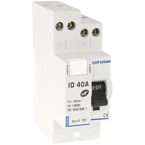 Interrupteur différentiel 40A 1P+N 30mA haut/haut classe AC (23240)