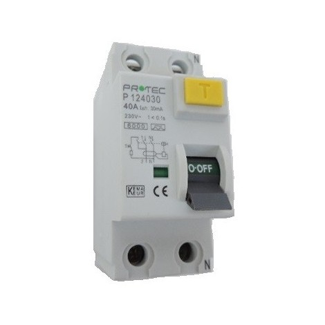 interrupteur differentiel 40A 2P 30mA type A 30mA norme CE bornes vis PROTEC 124030