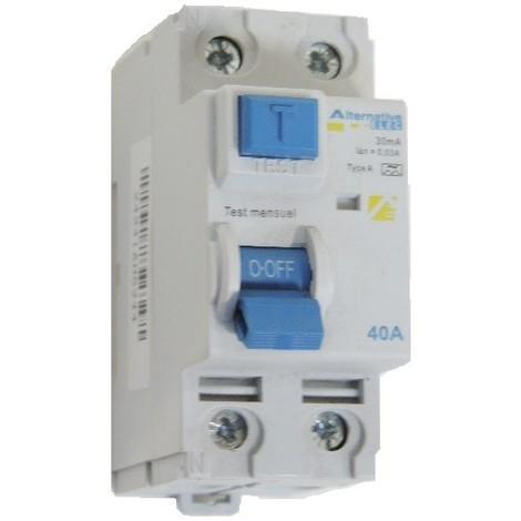 Interrupteur differentiel 40A 2P 30mA type A bornes à vis alignées norme CE ALTERNATIVE ELEC AE24241