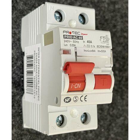 Interrupteur differentiel 40A 2P 30mA type AC 30mA bornes vis norme NF PROTEC PROID240AC