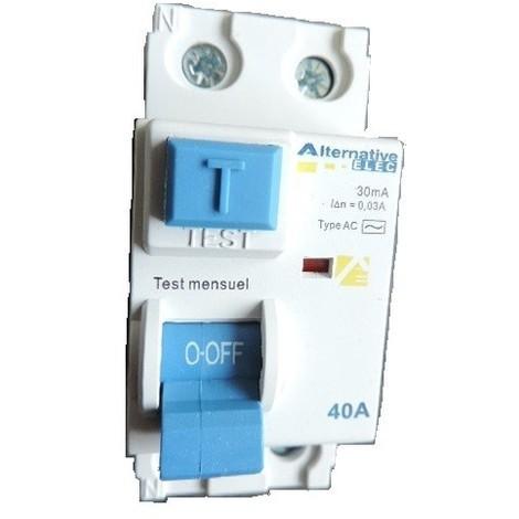 Interrupteur differentiel 40A 2P 30mA type AC bornes à vis alignées norme CE ALTERNATIVE ELEC AE24240