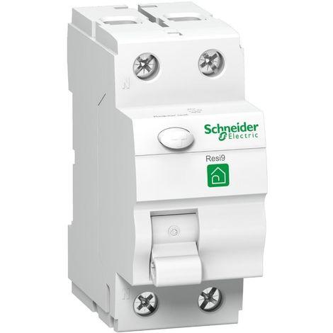 Interrupteur differentiel 40A 2P 30mA type AC bornes vis RESI9 SCHNEIDER R9R11240