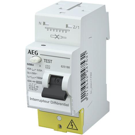 Interrupteur Différentiel 40A / 30mA / type A à vis / auto AEG