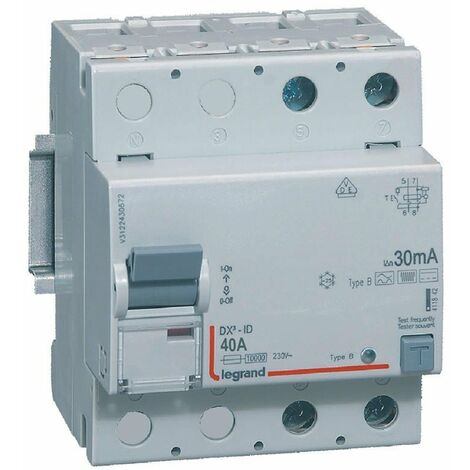 Interrupteur différentiel - 40A - 30mA - Type B - 230V - Vis/vis - Haut/bas