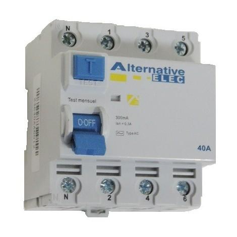 Interrupteur differentiel 40A 4P 300mA type AC bornes à vis alignées norme CE ALTERNATIVE ELEC AE24640