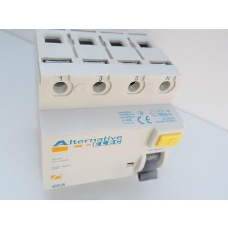 Interrupteur differentiel 40A 4P 30mA type A bornes vis norme CE ALTERNATIVE ELEC AE25440