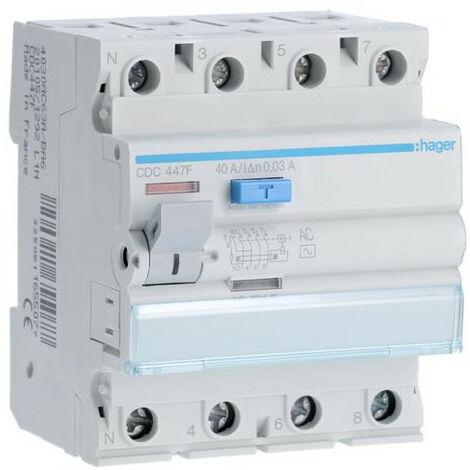 Interrupteur différentiel 4P 40A 30mA type AC 60Hz HAGER CDC447F