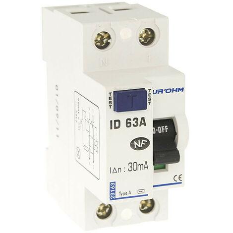 Interrupteur différentiel 63A 1P+N 30mA classe A (23163)