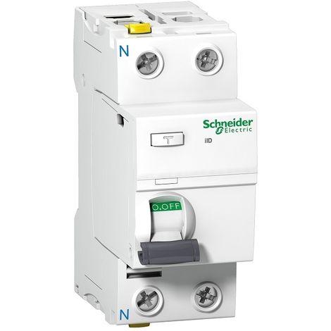 Interrupteur differentiel 63A 2P 100mA type AC-G bornes vis Acti 9 iID SCHNEIDER ELECTRIC A9Z77263