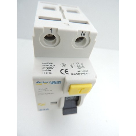 Interrupteur differentiel 63A 2P 300mA type AC bornes vis norme CE ALTERNATIVE ELEC AE28263