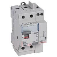 Interrupteur differentiel 63A 2P protection 30mA type A arrivée haute et départ haut 3M bornes vis/vis DX3-ID LEGRAND 411618
