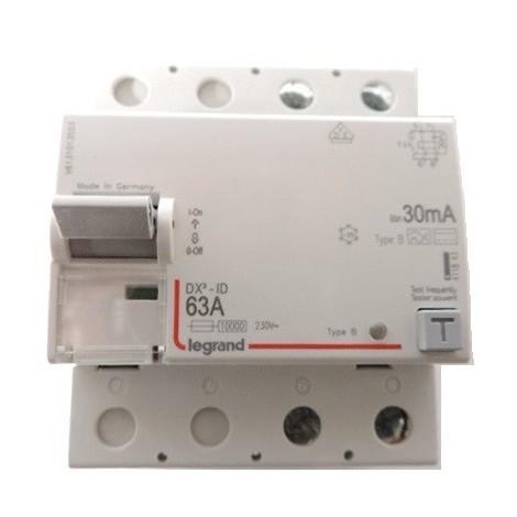 Interrupteur différentiel 63A 2P protection 30mA type B arrivée haute et départ bas vis/vis DX3 Legrand 411843