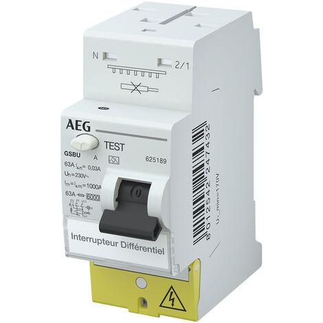 Interrupteur Différentiel 63A / 30mA / type A à vis / auto AEG