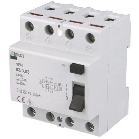 Interrupteur Différentiel 63A / 30mA / type A / Tétrapolaire Iskra