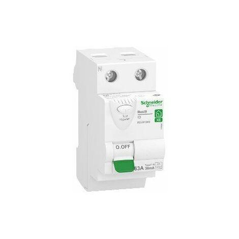 Interrupteur différentiel 63A XE Resi9 - 4 pas - Type Fsi - Bipolaire - 30mA - 400V CA - Embrochable