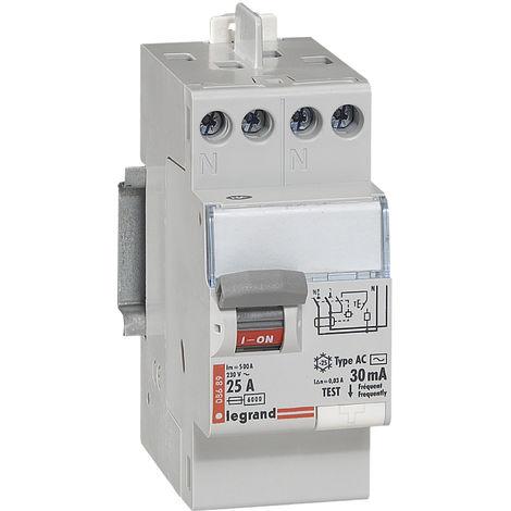 Interrupteur différentiel bipolaire - type AC 30mA arrivée haut/départ haut 25 A