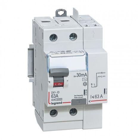 Interrupteur differentiel bipolaire type AC 30mA arrivée haut-départ haut 63 A (092897)