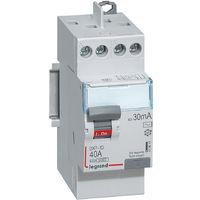 Interrupteur différentiel DX3 -ID arrivée haute et départ haut à vis - 2P 230V 40A typeAC 30mA - 2 modules