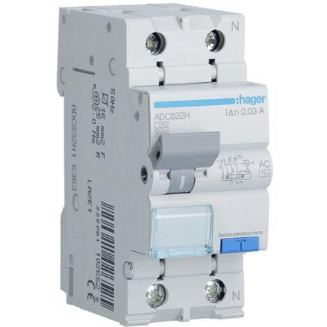 Interrupteur différentiel magnétothermique Hager 1P+N 32A 30MA