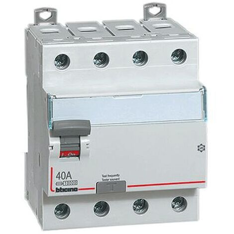 Interrupteur Différentiel Pur Bticino, 4 Pôles, 40A 500 ma Type AC-4 Modules