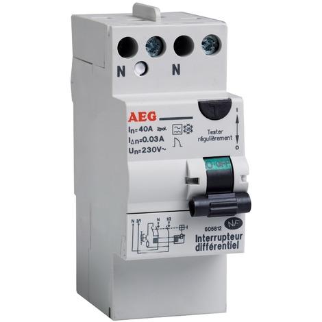 Interrupteur différentiel type A avec borne étagée AEG - 2 modules - Intensité 40 A
