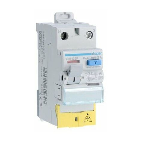 Interrupteur différentiel type HI 1P+1N 25A 30mA à bornes décalées