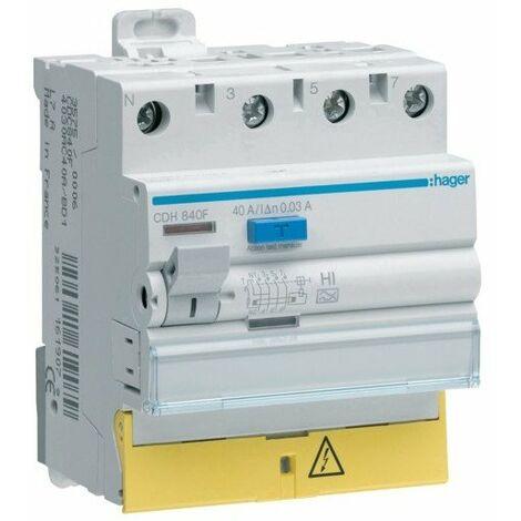 Interrupteur différentiel type HI 3P+1N 40A 30mA à bornes décalées