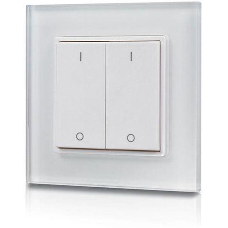 Interrupteur dimmable deux touches, radiofréquence, 2 zones de contrôle