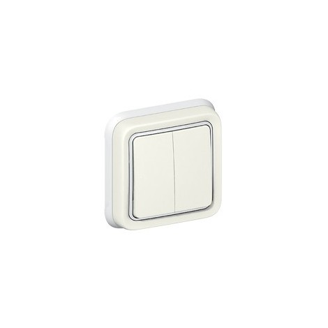 Interrupteur Double Va et Vient Legrand Plexo Blanc Encastré IP55 10 AX - 250 V