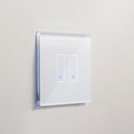 Interrupteur double WiFi intelligent verre blanc tactile compatible Google Home Amazon Alexa Iotty - IOTTY