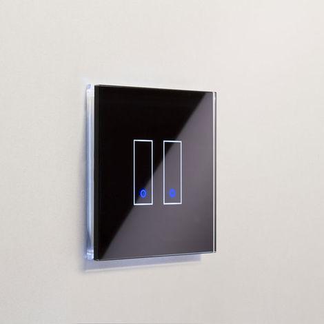 Interrupteur double WiFi intelligent verre noir tactile compatible Google Home Amazon Alexa Iotty - IOTTY