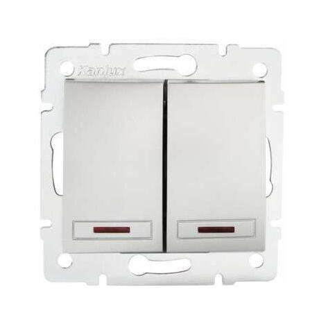 Interrupteur Encastrable Double avec Voyant Lumineux LED DOMO Argent