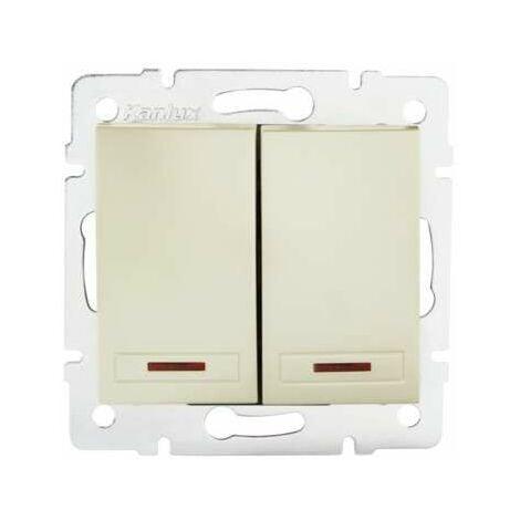 Interrupteur Encastrable Double avec Voyant Lumineux LED DOMO Blanc Perlé