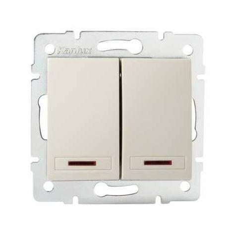 Interrupteur Encastrable Double avec Voyant Lumineux LED DOMO Crème