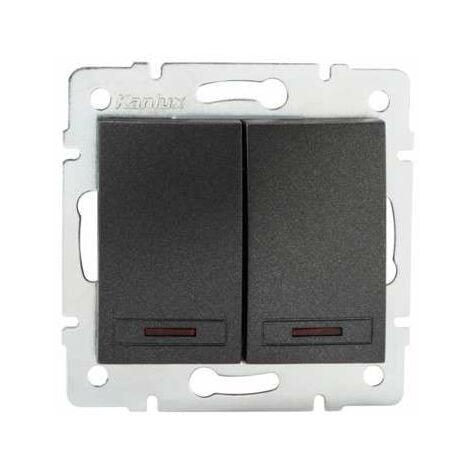 Interrupteur Encastrable Double avec Voyant Lumineux LED DOMO Graphite