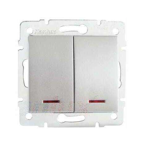 Interrupteur Encastrable Double avec Voyant Lumineux LED LOGI Argent