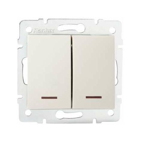 Interrupteur Encastrable Double avec Voyant Lumineux LED LOGI Crème