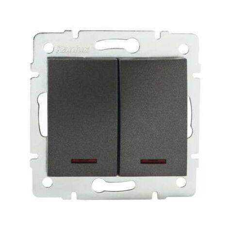 Interrupteur Encastrable Double avec Voyant Lumineux LED LOGI Graphite