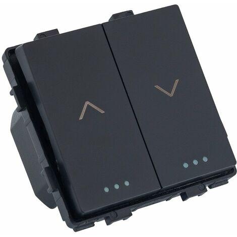 Interrupteur Encastré Double Bouton Poussoir Noir pour Stores Automatiques | IluminaShop