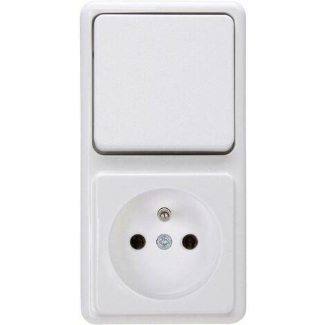 Interrupteur et prise standard apparent Kopp 109002004 blanc arctique 1 pc(s)