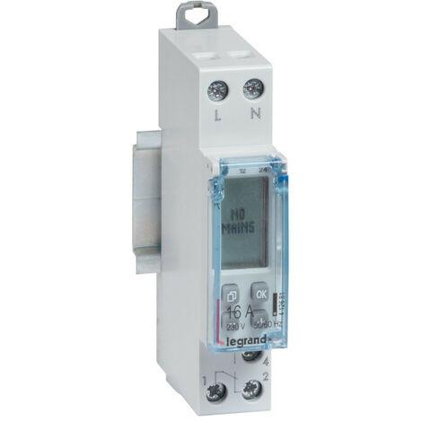 Interrupteur horaire modulaire programmable journalier et hebdomadaire standard 230V~ 1 sortie 16A 1 module (412681)