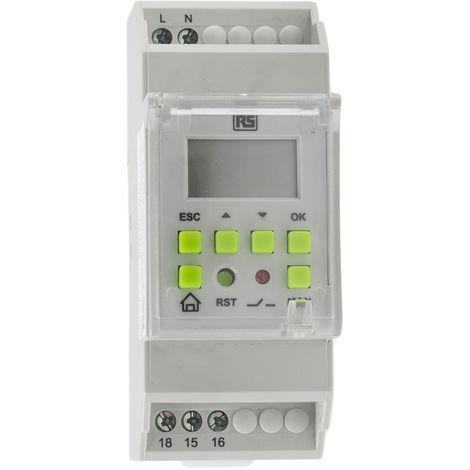 Interrupteur horaire pour rail DIN RS PRO, 110 → 240 V c.a. 1 canal(aux)