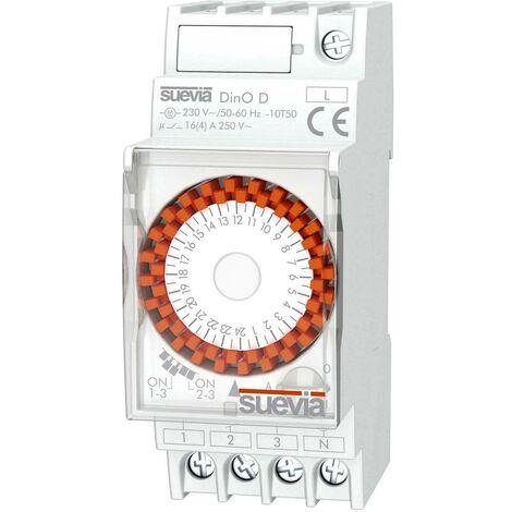 Interrupteur horaire pour rail Suevia DinO D SU291031 Tension de fonctionnement: 230 V/AC 1 inverseur (RT) 16 A 250 V/AC programme quotidien 1 pc(s)