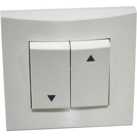 Interrupteur inverseur blanc volet roulant position fixe encastré borne auto fixation vis avec plaque ALTERNATIVE ELEC AE52018-P