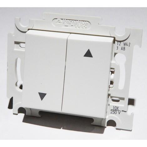 Interrupteur inverseur blanc volet roulant position fixe encastré bornes auto fixation vis sans plaque ALTERNATIVE ELEC AE52018