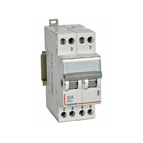 Interrupteur-inverseur modulaire - Double va-et-vient - 250V - 32A - 2 modules