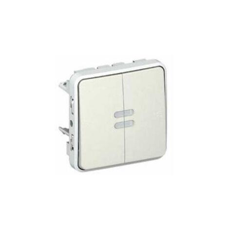 Interrupteur lumineux + poussoir inverseur NO+NF lumineux IP55 10AX 250V - Plexo - Blanc - 069619 - Legrand