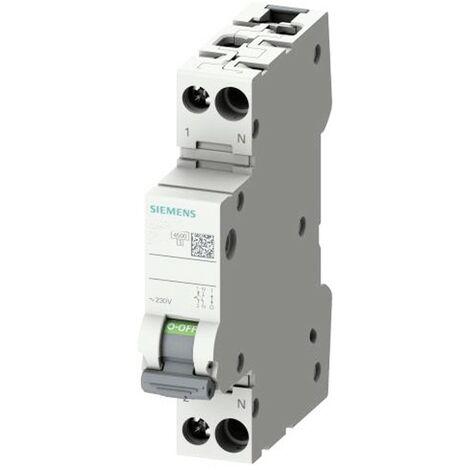 Interrupteur magnétothermique Siemens 6A 1P+N 4.5 KA courbe C 1 Modules 5SL30067