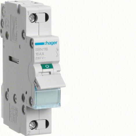 Interrupteur modulaire 1 pôle 16A (SBN116)